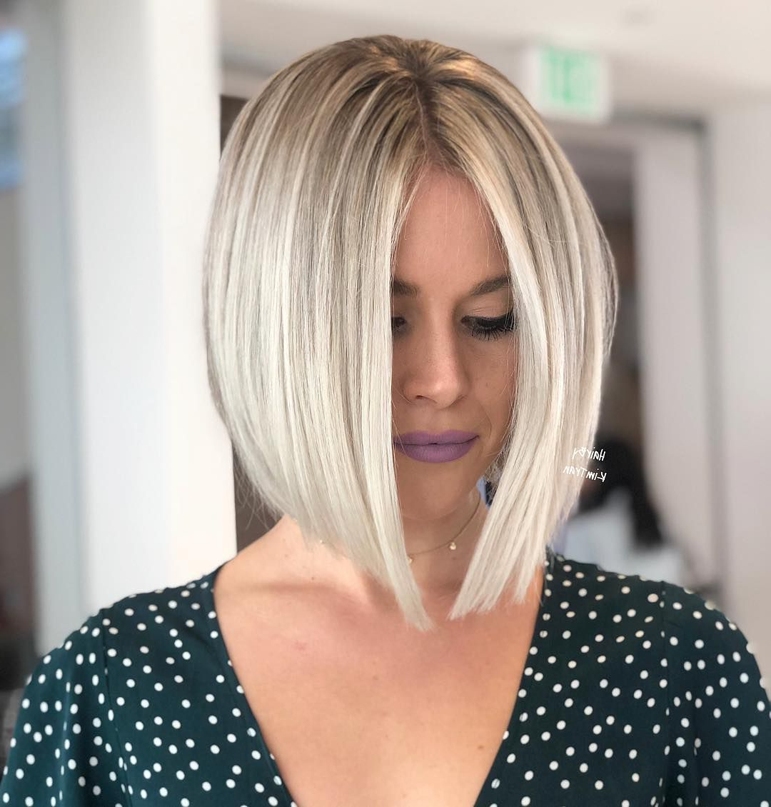 "Kim Tran On Instagram: ""sharp Edges For This Blonde Queen 👑 #hbkt Regarding Best And Newest Sharp Shaggy Bob Hairstyles With Side Part (View 14 of 20)"