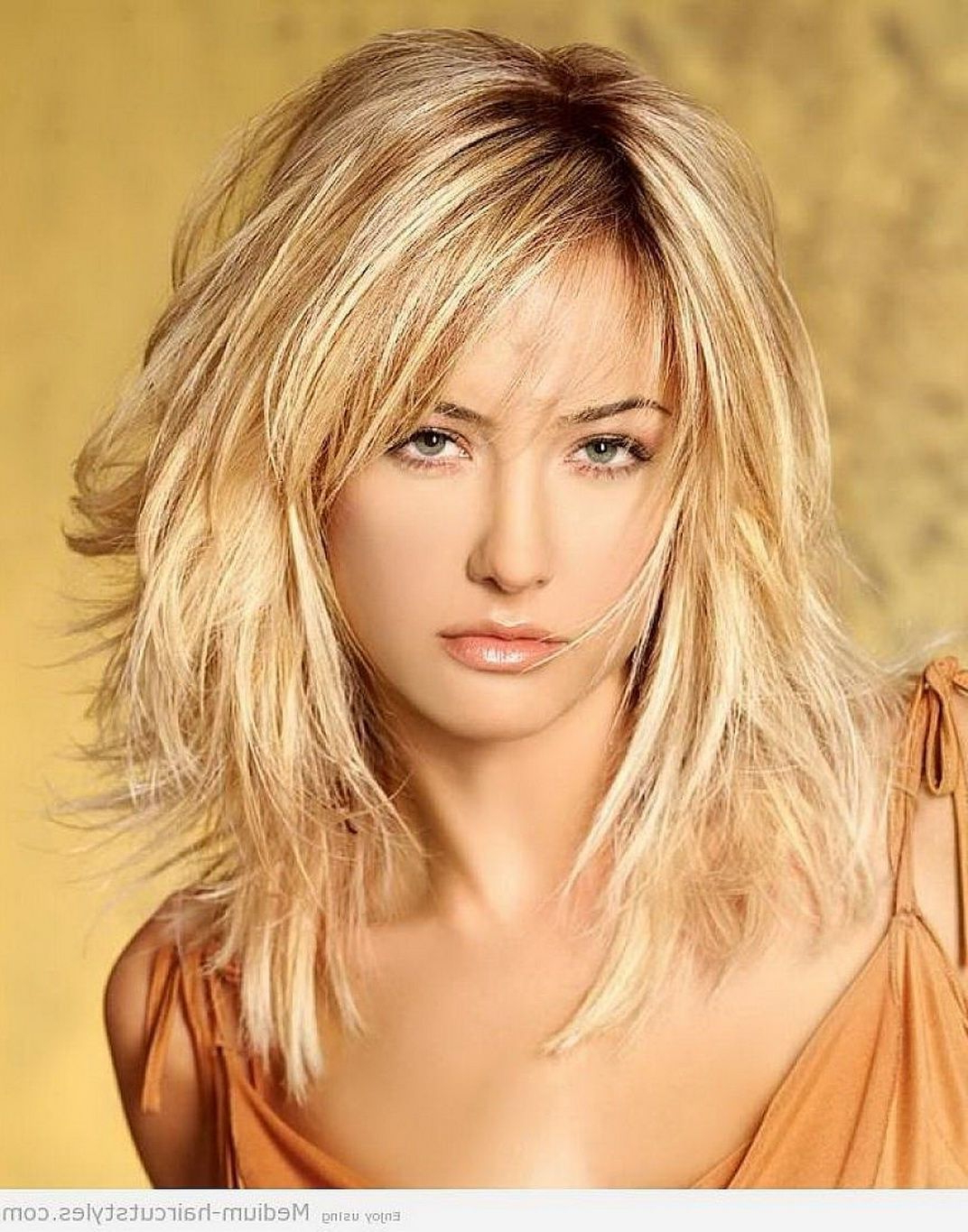 Layered Shoulder Length Haircuts With Bangs Medium Length Hair With In Current Choppy Layers Hairstyles (View 12 of 20)