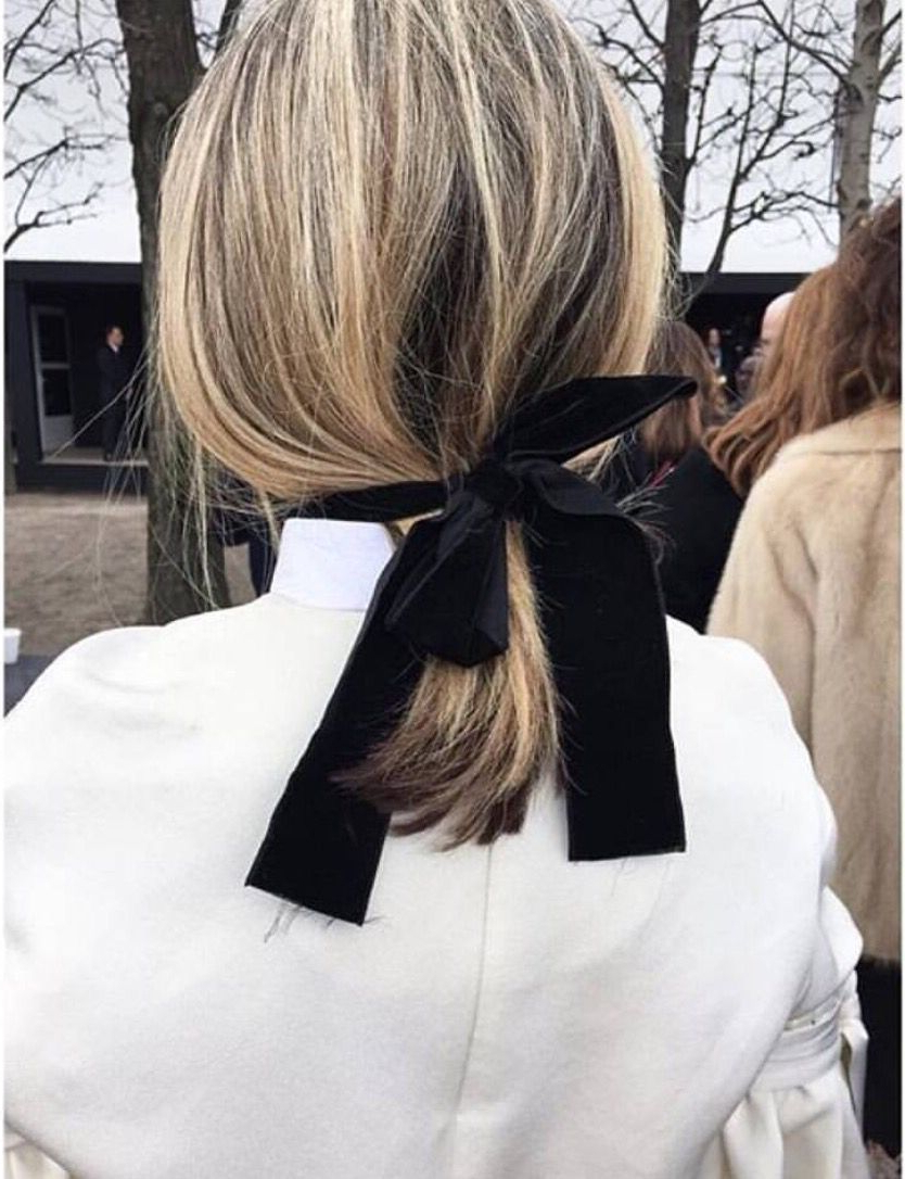 Most Recent Black Bow Ponytail Hairstyles Intended For Blonde With Ribbon (View 9 of 20)