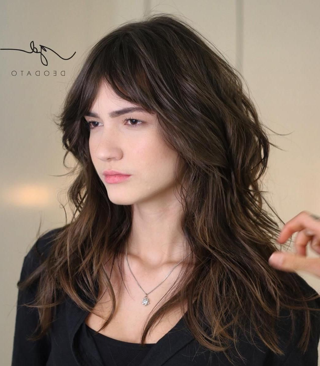 Most Recent Voluminous Layers Under Bangs Hairstyles For 50 Cute And Effortless Long Layered Haircuts With Bangs In  (View 11 of 20)