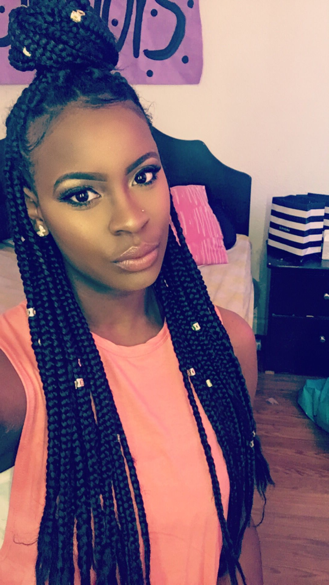 Most Recently Released Braids And Gold Ponytail Hairstyles In Box Braids With The Gold Clips (View 11 of 20)