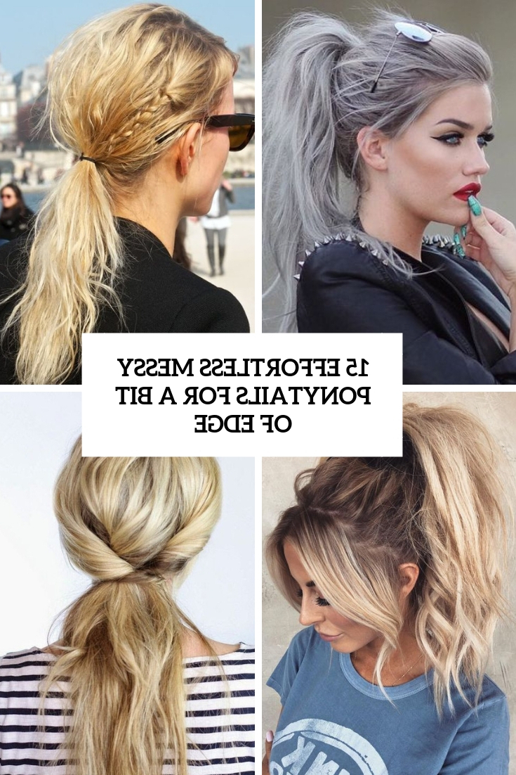 Most Recently Released Halo Ponytail Hairstyles Regarding 15 Effortless Messy Ponytails For A Bit Of Edge – Styleoholic (View 12 of 20)