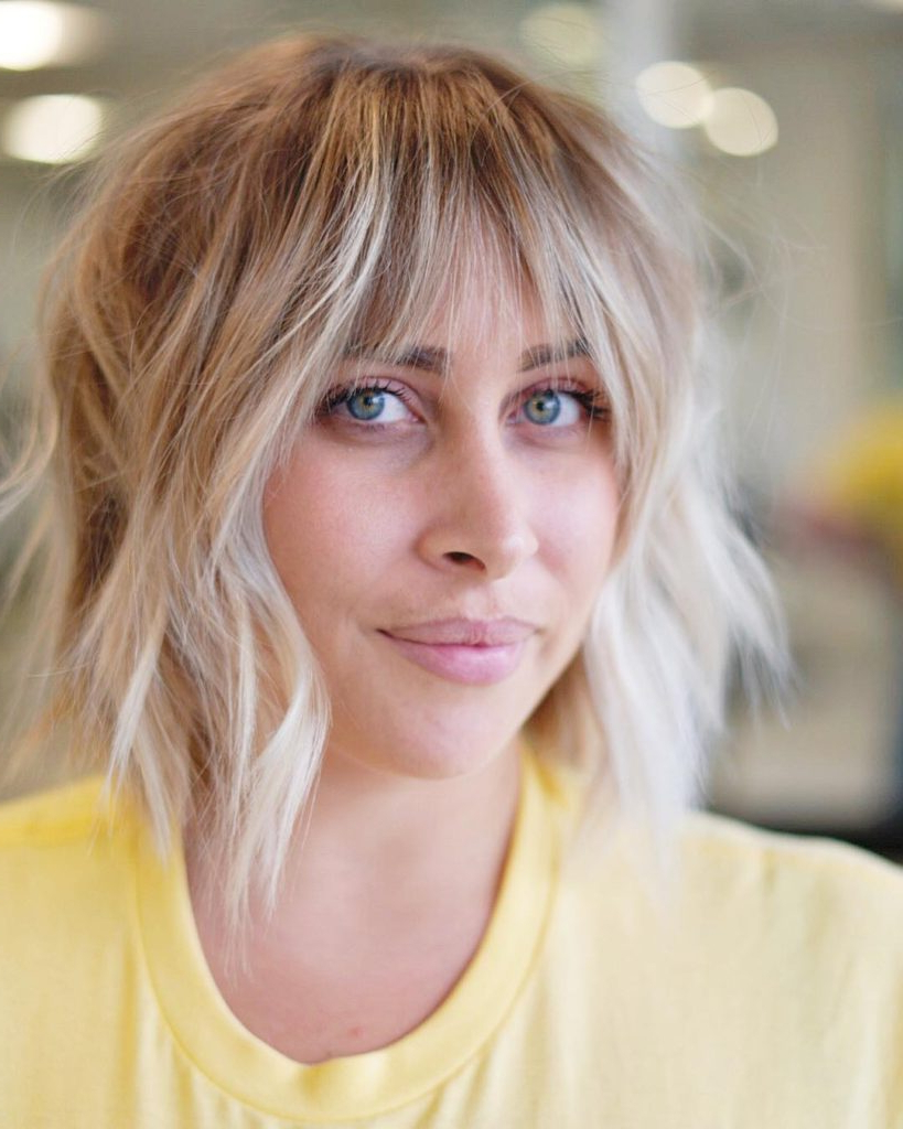 Most Recently Released Long Wavy Chopped Hairstyles Regarding Women's Light Blonde Choppy Bob With Messy Wavy Texture And Brow (View 16 of 20)