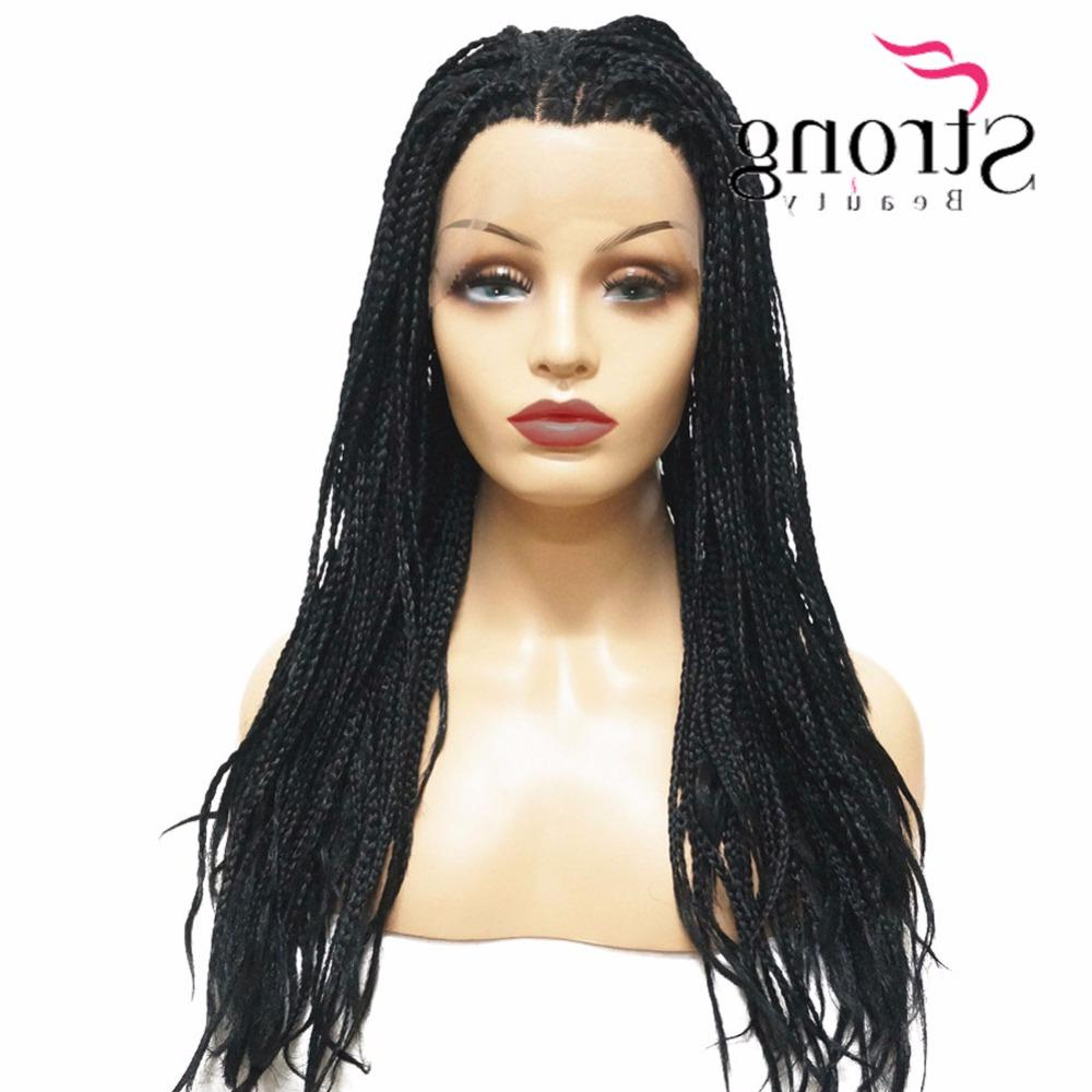 Most Up To Date Twisted Lace Braid Hairstyles Intended For Long Twist Braid Lace Front Long Black Wig Synthetic Braided Box Braids Wigs For Women (View 17 of 20)