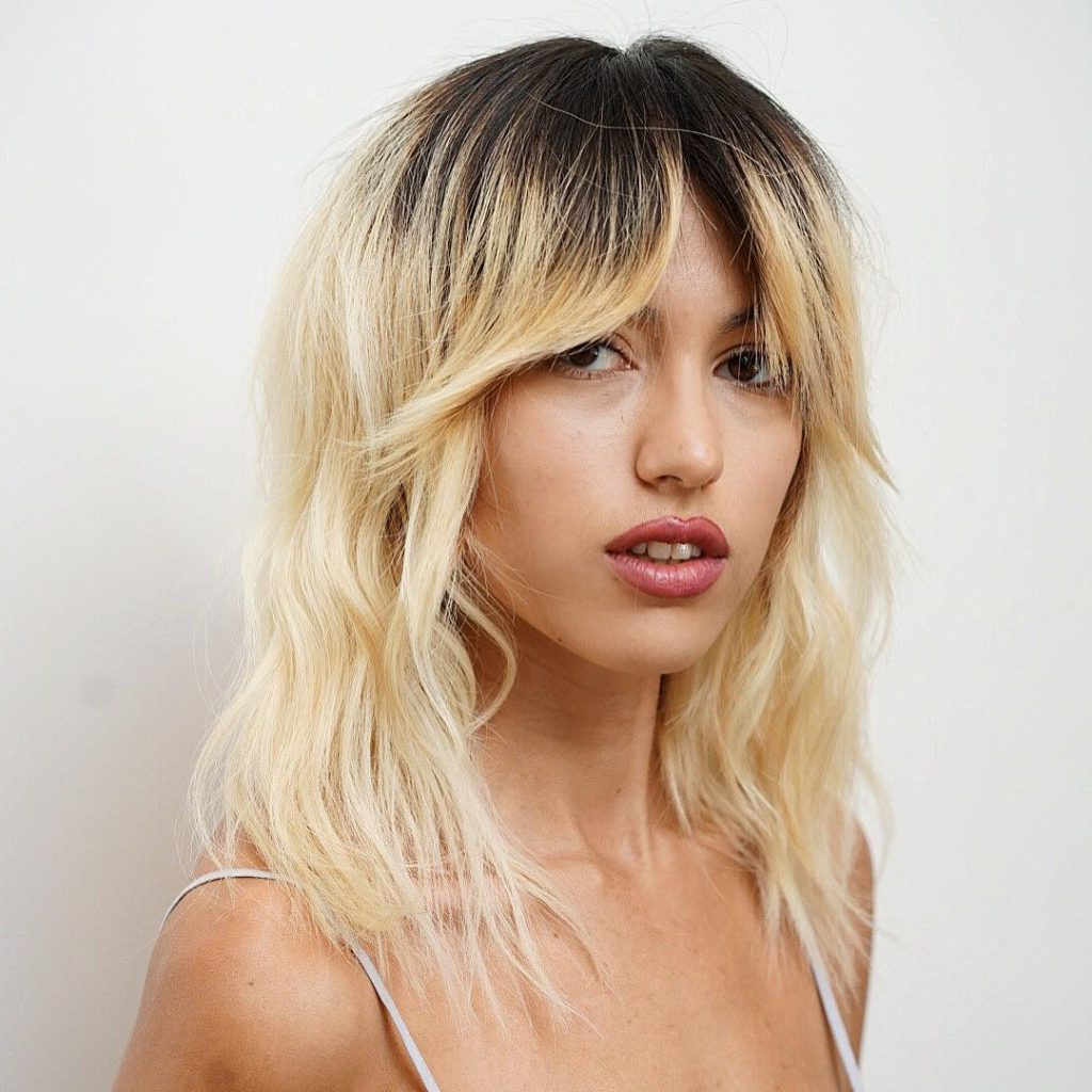 Newest Shaggy Bob Hairstyles With Curtain Bangs Within Women's Messy Platinum Blonde Wavy Textured Lob With Fringe Curtain (View 15 of 20)