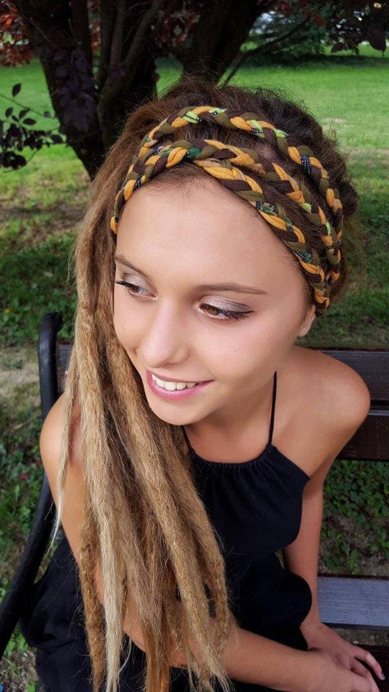 Olive Caramel Mustard Headband Headscarf Braided Headband Woodland Fall Autumn Tribal Festival Head Wraps Headband Unique Gift For Her Regarding Most Popular Braided Headwrap Hairstyles (View 16 of 20)