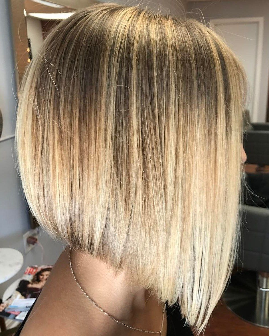 Popular Sleek Straight Layered Haircuts Throughout Angled Sunny Blonde Bob For Straight Hair (View 6 of 20)