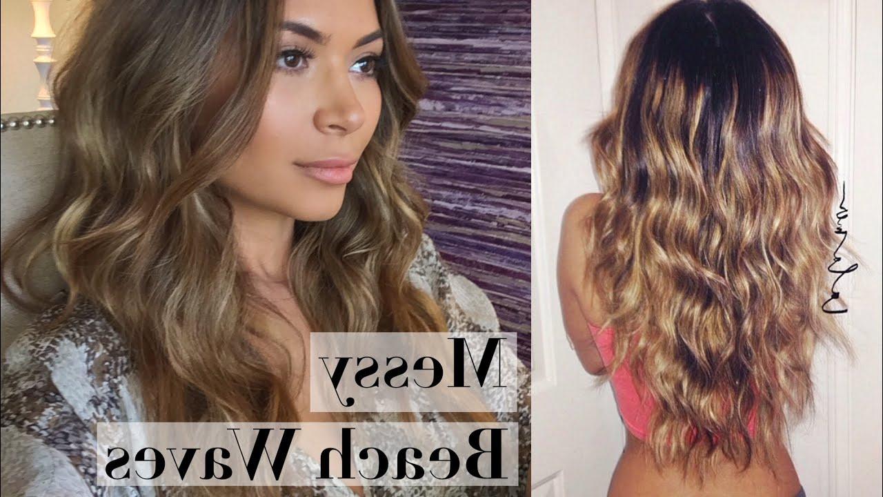 Preferred Messy Hairstyles With Beachy Waves Regarding Messy Beach Waves Curls Hair Tutorial (Gallery 2 of 20)