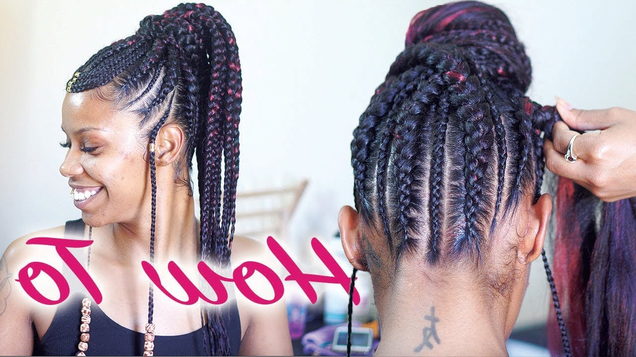 Recent Strong Braid Ponytail Hairstyles Intended For Tribal Braids Tutorial – Feed In Braids Ponytail (View 6 of 20)
