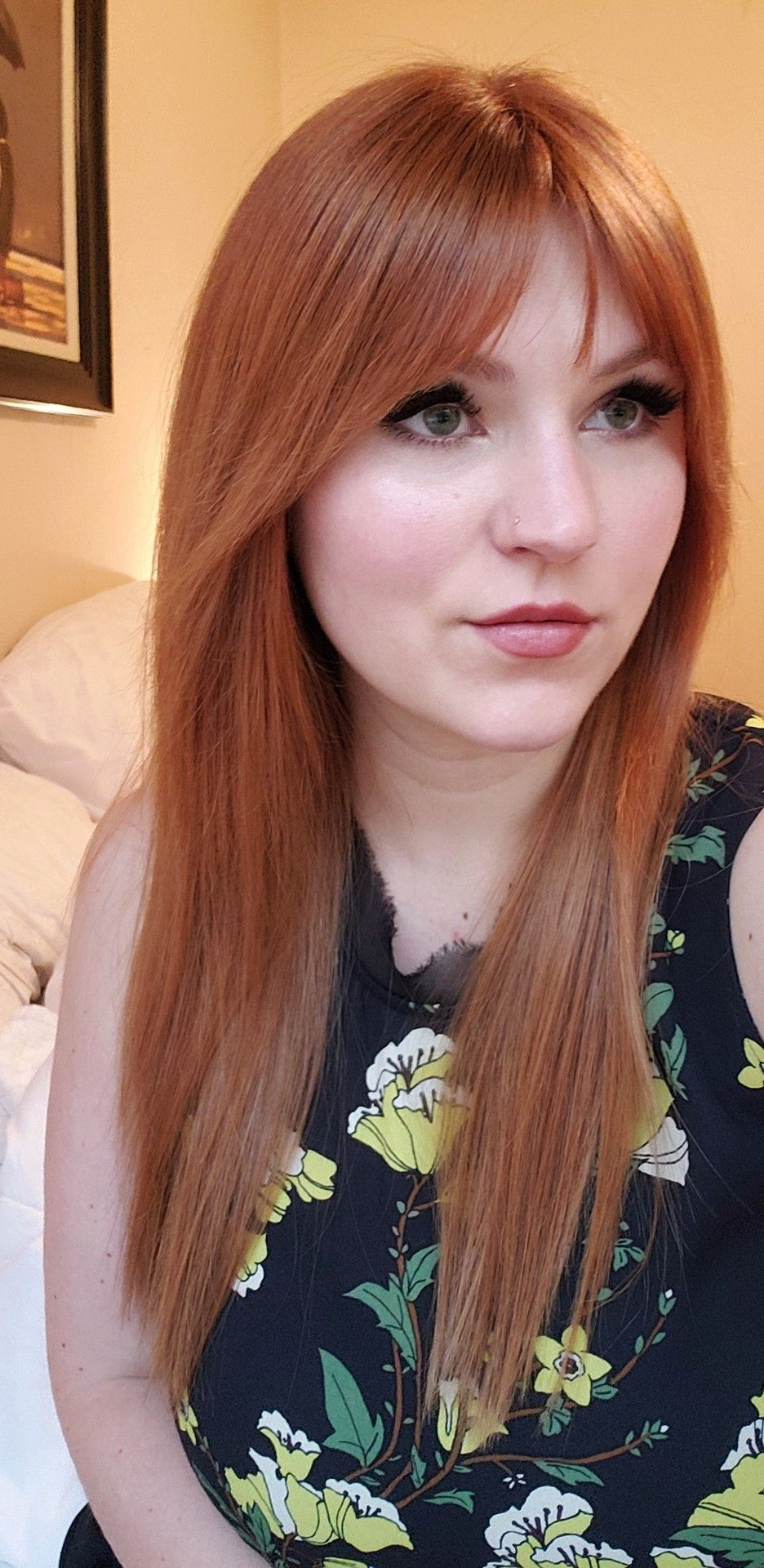 Red Hair, Curtain Fringe #longredhair #bangs #straighthair #redhead With Best And Newest Low Key Curtain Bangs Hairstyles (View 14 of 20)
