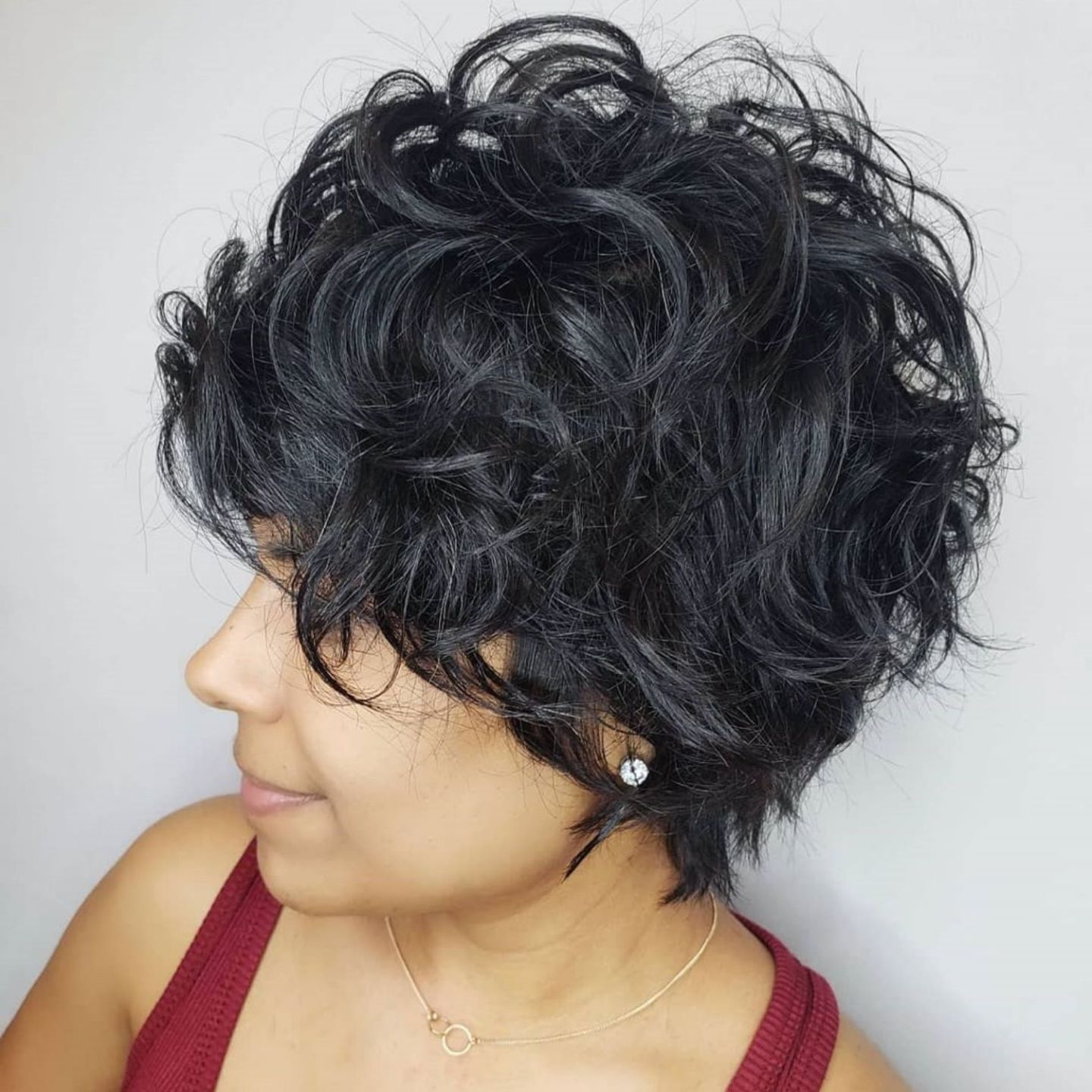 Short Blue Black Tousled Curly Hairstyle (View 12 of 20)