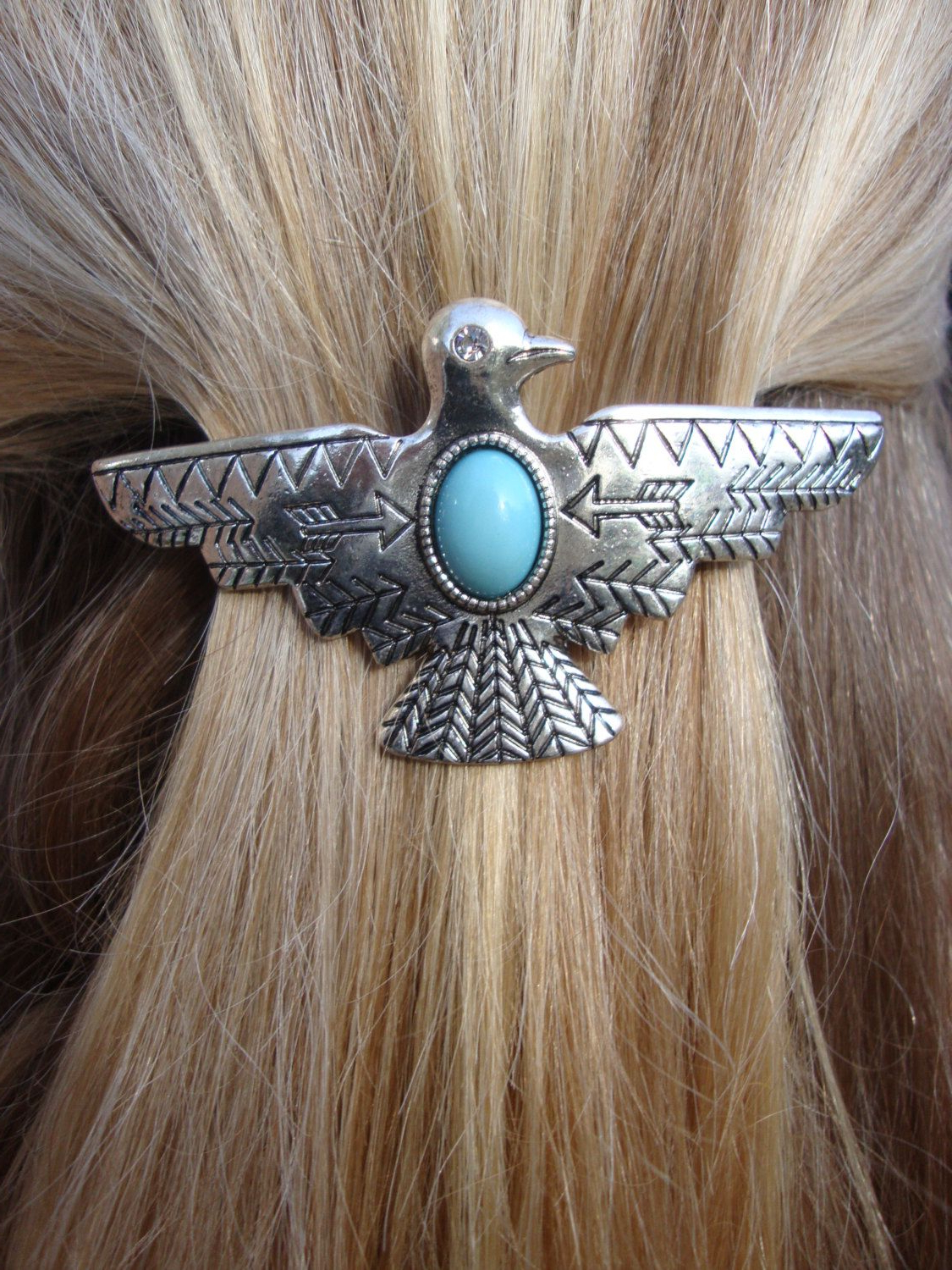 Silver Tribal Thunderbird Hair Barrette Hair Accessory Boho Chic Throughout Recent Graded Ponytail Hairstyles With A Butterfly Clasp (View 17 of 20)