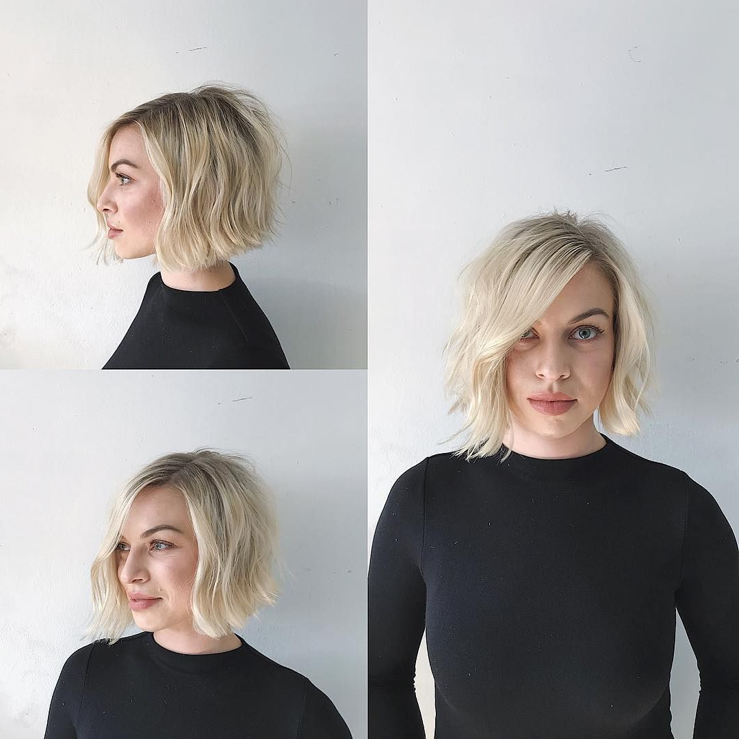 This Blonde Soft Blend Bob With Side Part And Undone Wavy Texture Is Intended For Well Known Textured Bob With Side Part Hairstyles (Gallery 1 of 20)
