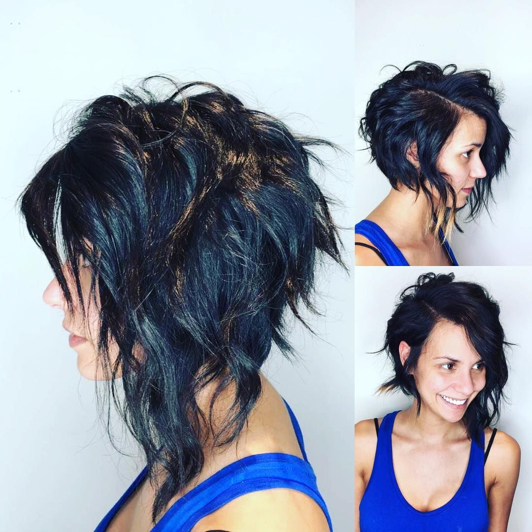 This Edgy Angled Asymmetric Razor Cut Bob With Wavy Texture And With Famous Edgy Bob Hairstyles With Wispy Texture (Gallery 7 of 20)