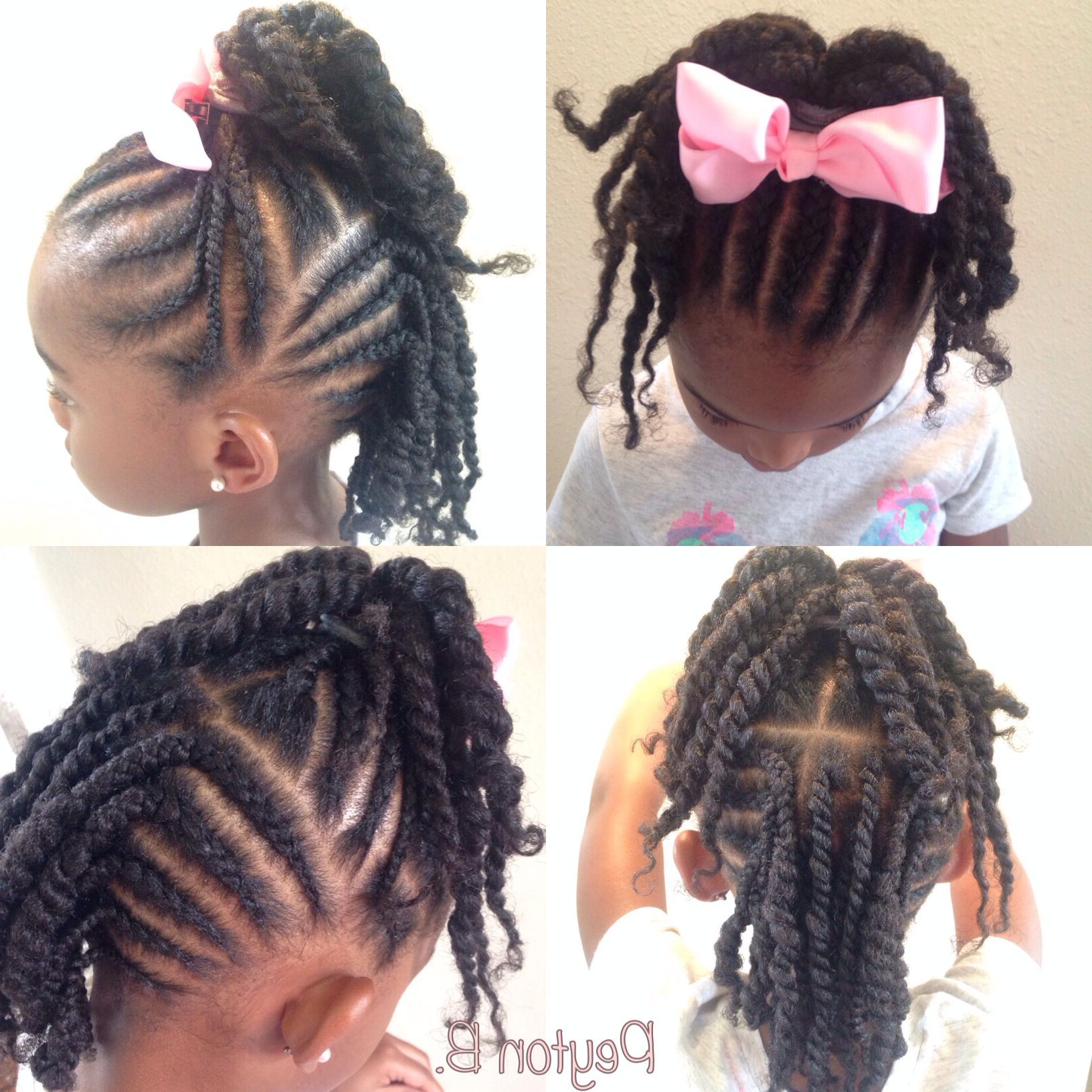 Top: Cornrows With Ends Twisted Up Into Ponytail. Back: Cornrows + Intended For Most Popular Twist Into Ponytail Hairstyles (Gallery 8 of 20)