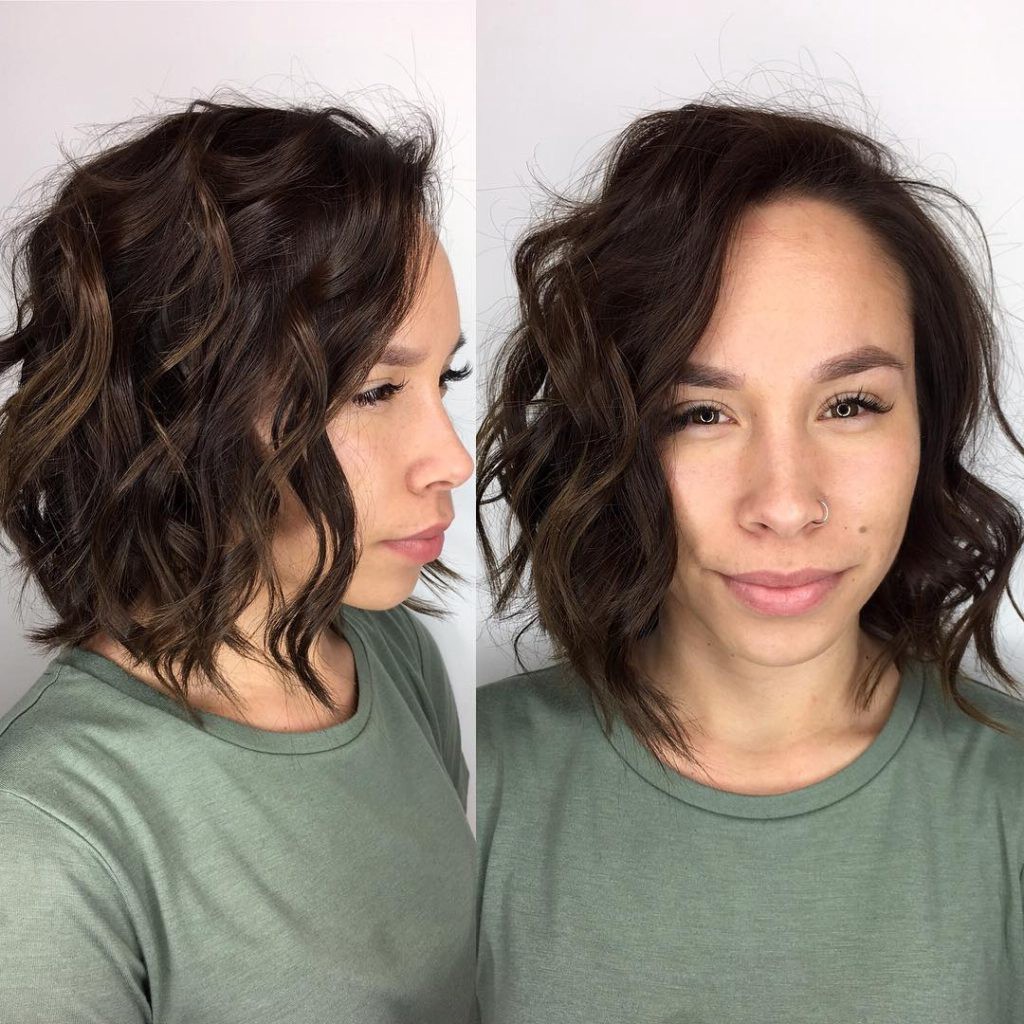 Tousled Layered Bob With Textured Waves And Chocolate Brunette Color Regarding Trendy Full Tousled Layers Hairstyles (View 18 of 20)