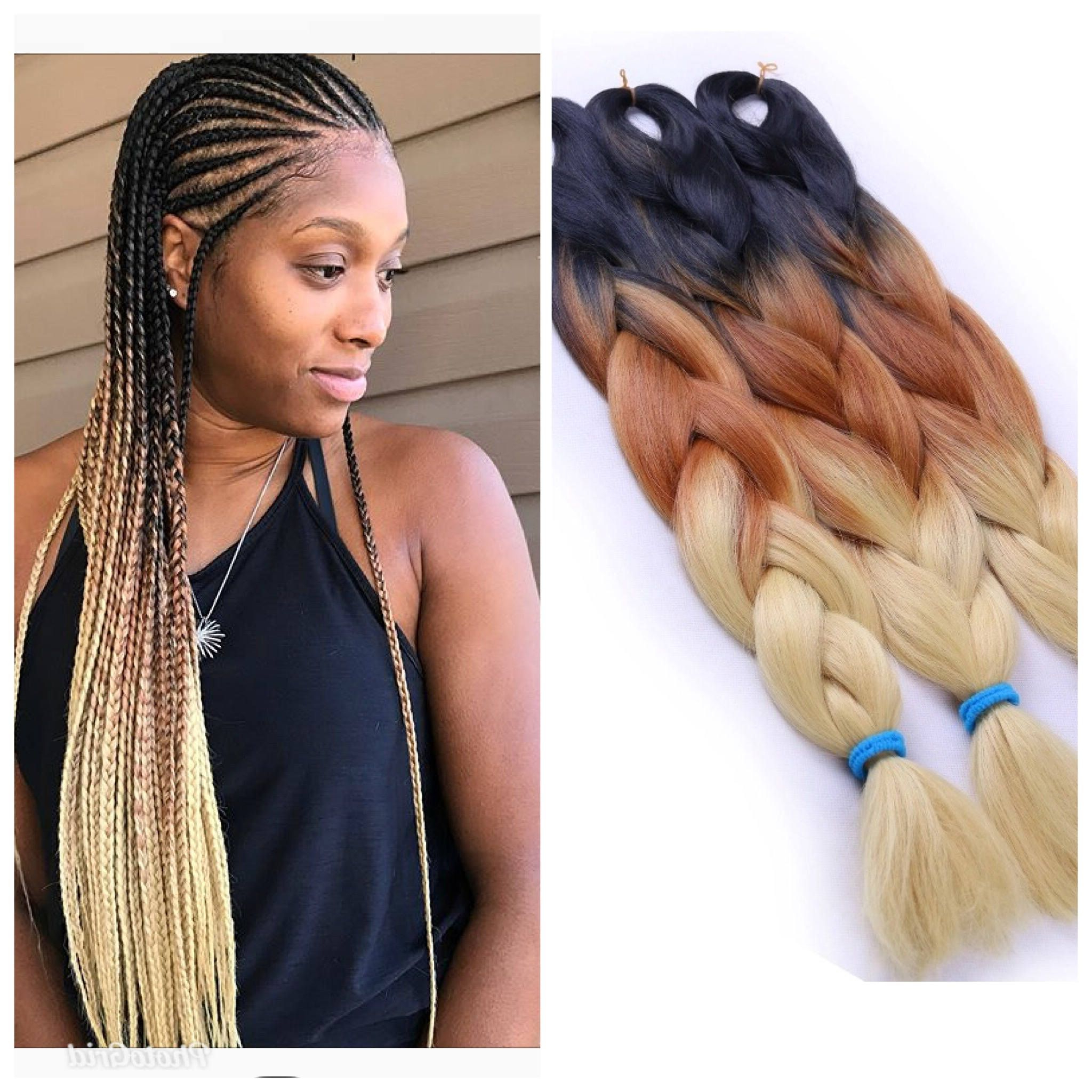 Trendy Braids And Gold Ponytail Hairstyles Regarding Jumbo Braiding Hair (Black/brown/gold) 5Pcs Jumbo Braids Hair (View 19 of 20)