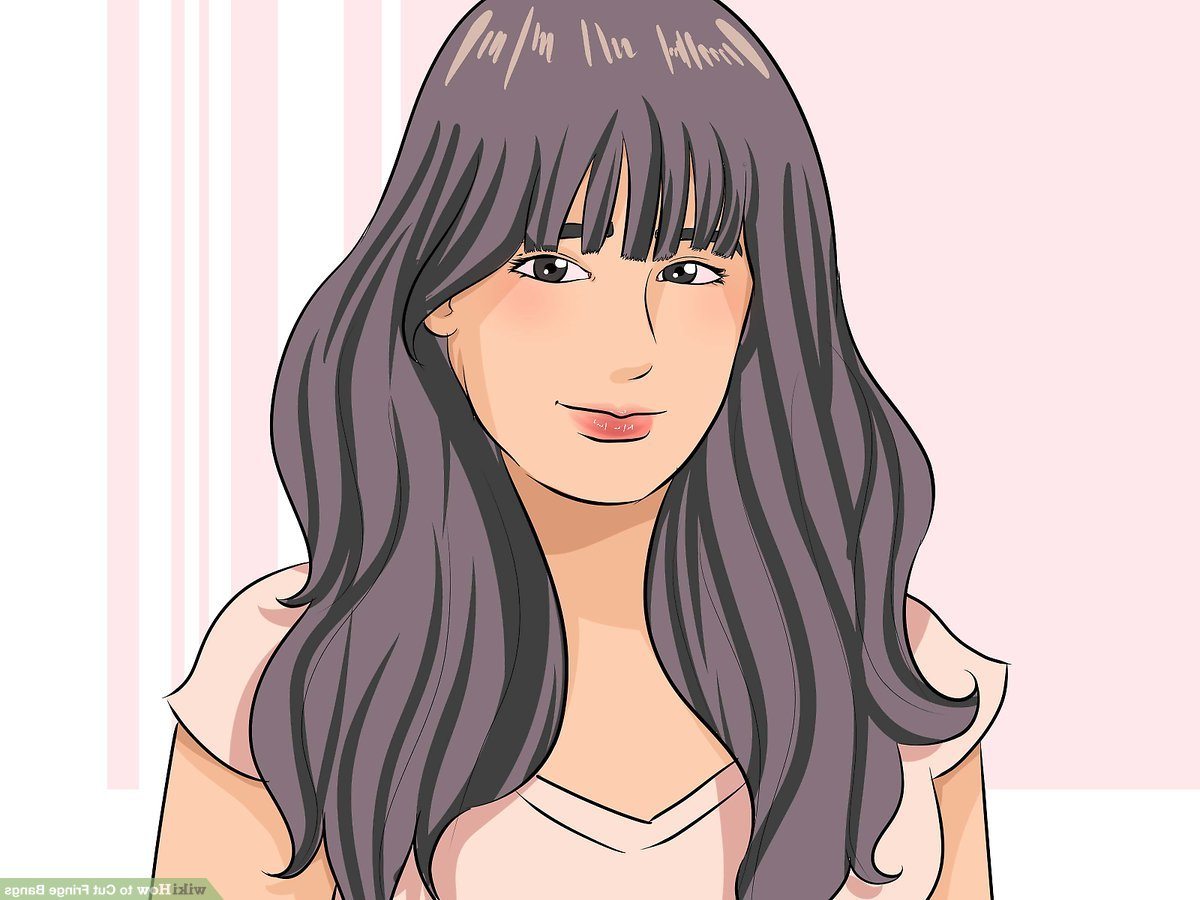 Trendy Long Wavy Hairstyles With Horizontal Bangs In How To Cut Fringe Bangs: 13 Steps (With Pictures) – Wikihow (View 17 of 20)