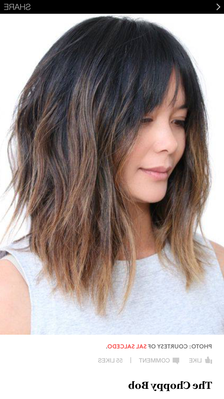 Well Known Asymmetrical Choppy Lob Hairstyles For Asymmetrical Cut W Bangs (Gallery 9 of 20)