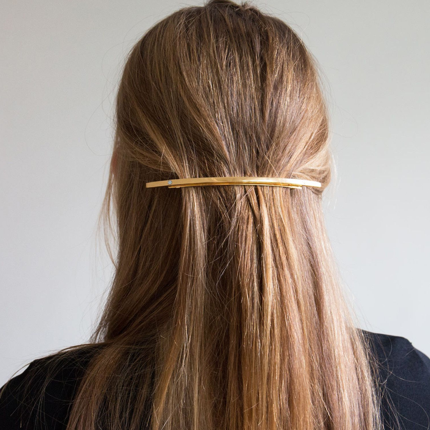 Well Known Graded Ponytail Hairstyles With A Butterfly Clasp Within Sylvain Le Hen Gold Hair Barrette (Gallery 4 of 20)
