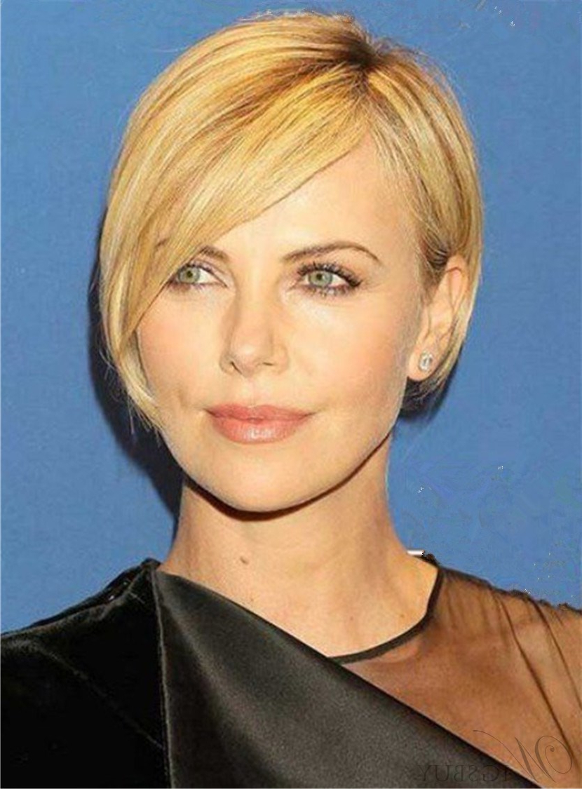 Well Known Short Blonde Side Bangs Hairstyles For Short Blonde Straight Side Swept Bangs Full Lace Cap Human Hair Wigs (Gallery 14 of 20)