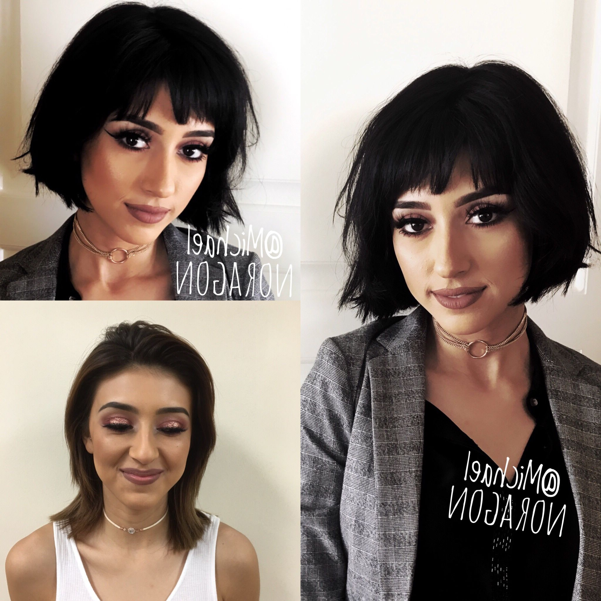 Well Liked Long Wavy Hairstyles With Horizontal Bangs Pertaining To Before And After. Shorter Horizontal Bob With A Great Fringe. (Gallery 18 of 20)
