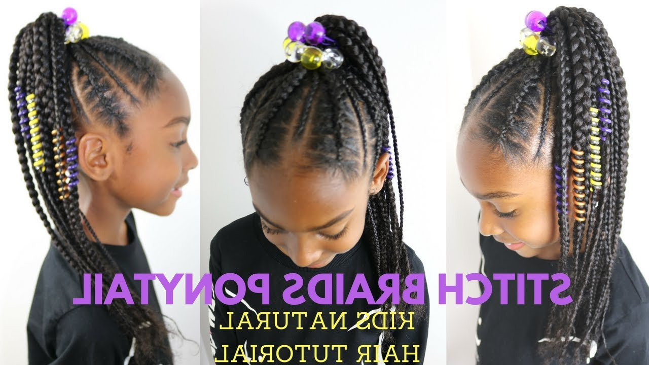 [%well Liked Stitched Thread Ponytail Hairstyles Pertaining To Stitch Braids Ponytail On Kids Natural Hair ( No Extensions) [video|stitch Braids Ponytail On Kids Natural Hair ( No Extensions) [video Inside Most Up To Date Stitched Thread Ponytail Hairstyles%] (View 9 of 20)