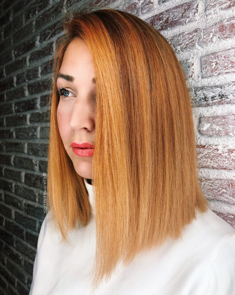 Women's Blunt Side Parted Lob With Textured Ends And Bold Ginger With Preferred Side Parted Shaggy Lob Hairstyles (Gallery 7 of 20)