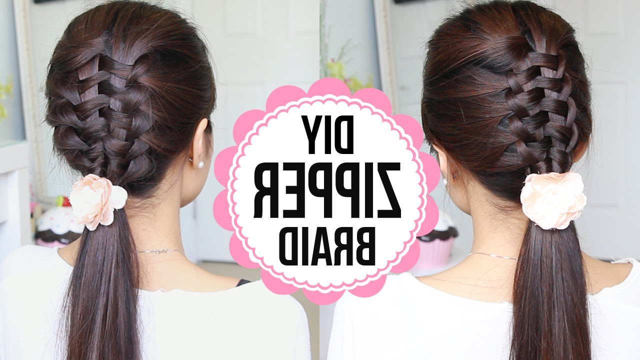 Zipper Braid / Suspended Infinity Braid Hair Tutorial · Bebexo For Current Infinity Braid Ponytail Hairstyles (View 20 of 20)