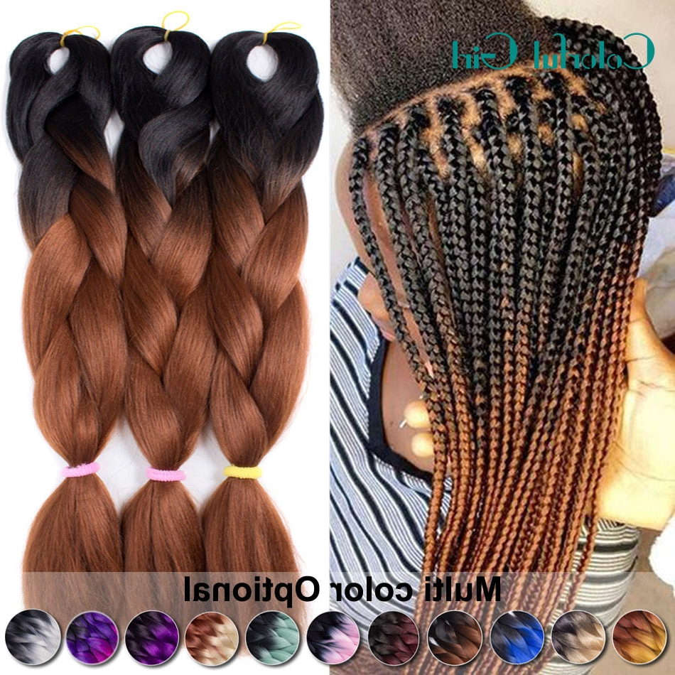 "1 10Packs Xpressions Kanekalon Braiding Hair 24"" Ombre Jumbo Inside Famous Light Brown Braid Hairstyles (View 1 of 20)"