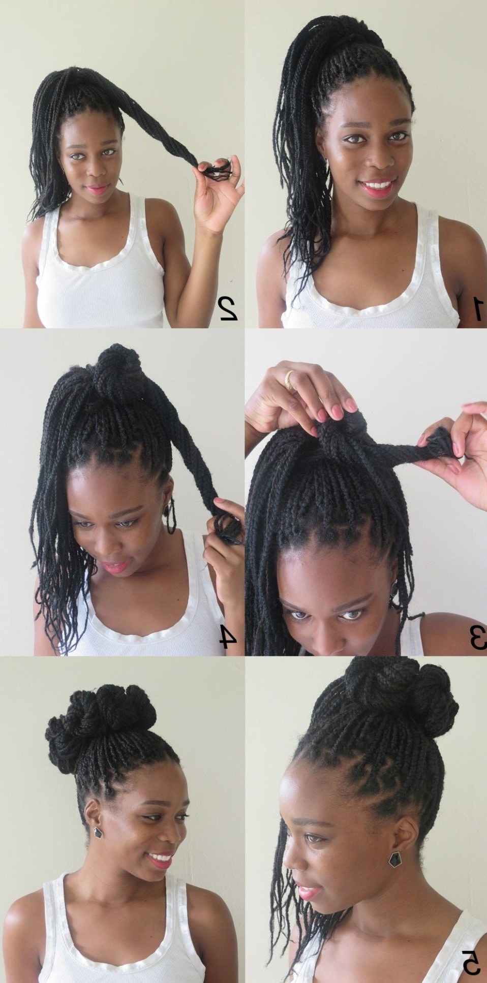 10 Instructions Directing You On How To Style Box Braids For Well Liked High Half Up Bun Invisible Braids (View 18 of 20)