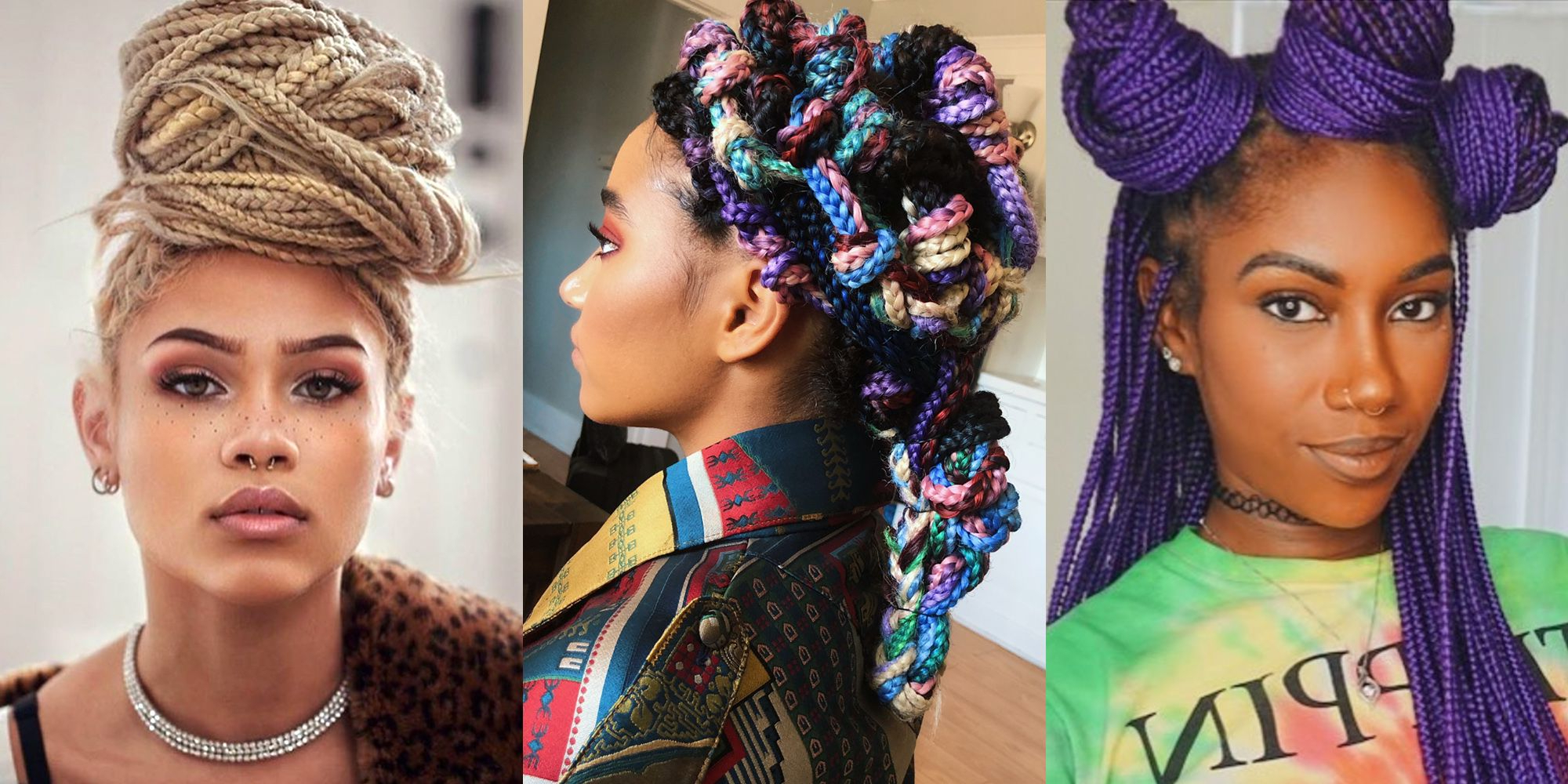 14 Different Ways To Wear Box Braids Pertaining To Fashionable Purple Pixies Bob Braid Hairstyles (View 2 of 20)