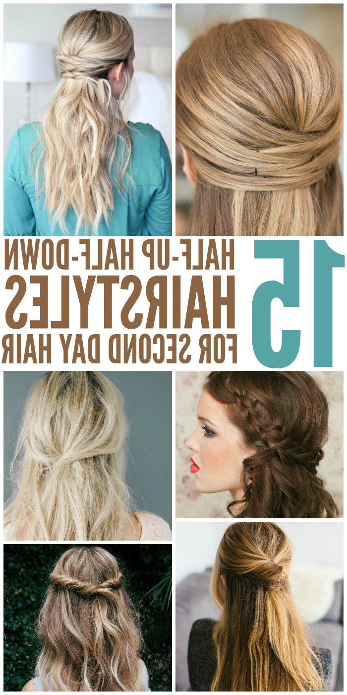 15 Casual & Simple Hairstyles That Are Half Up, Half Down With Regard To Most Recent Pretty Pinned Back Half Updo Braids (View 13 of 20)