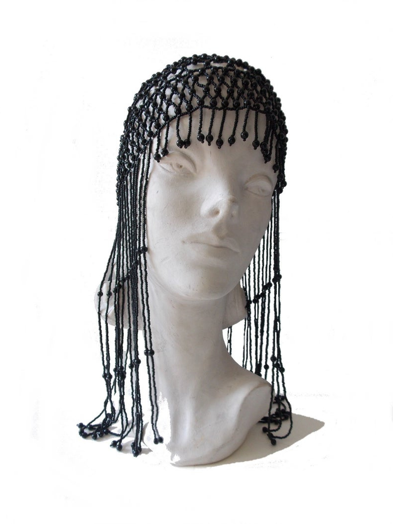 1920s Art Deco Black Glass Beaded Headpiece Hat With Long French Jet Fringe / 20s Flapper Cloche Hat / 20's Skull Cap /the Great Gatsby Hat For Most Up To Date Gold Toned Skull Cap Braided Hairstyles (View 9 of 20)