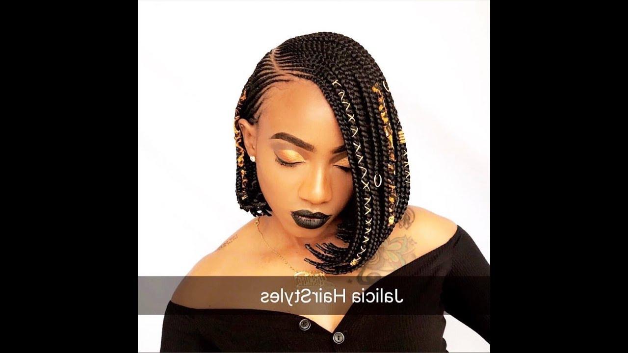 Featured Photo of Side Parted Braided Bob Hairstyles