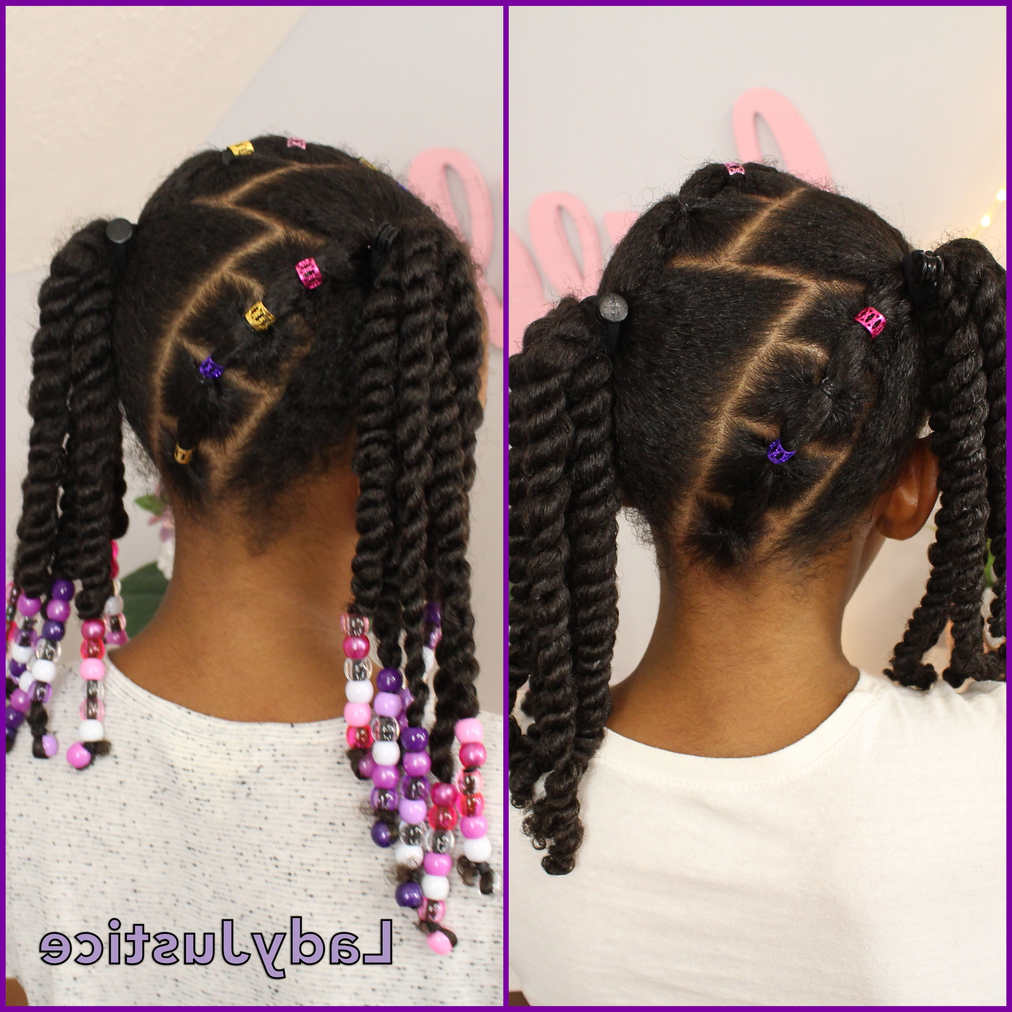 2 Ponytails And 2 Strand Twists Full Tutorial Linked With Regard To Popular Updo Hairstyles With 2 Strand Braid And Curls (View 2 of 20)