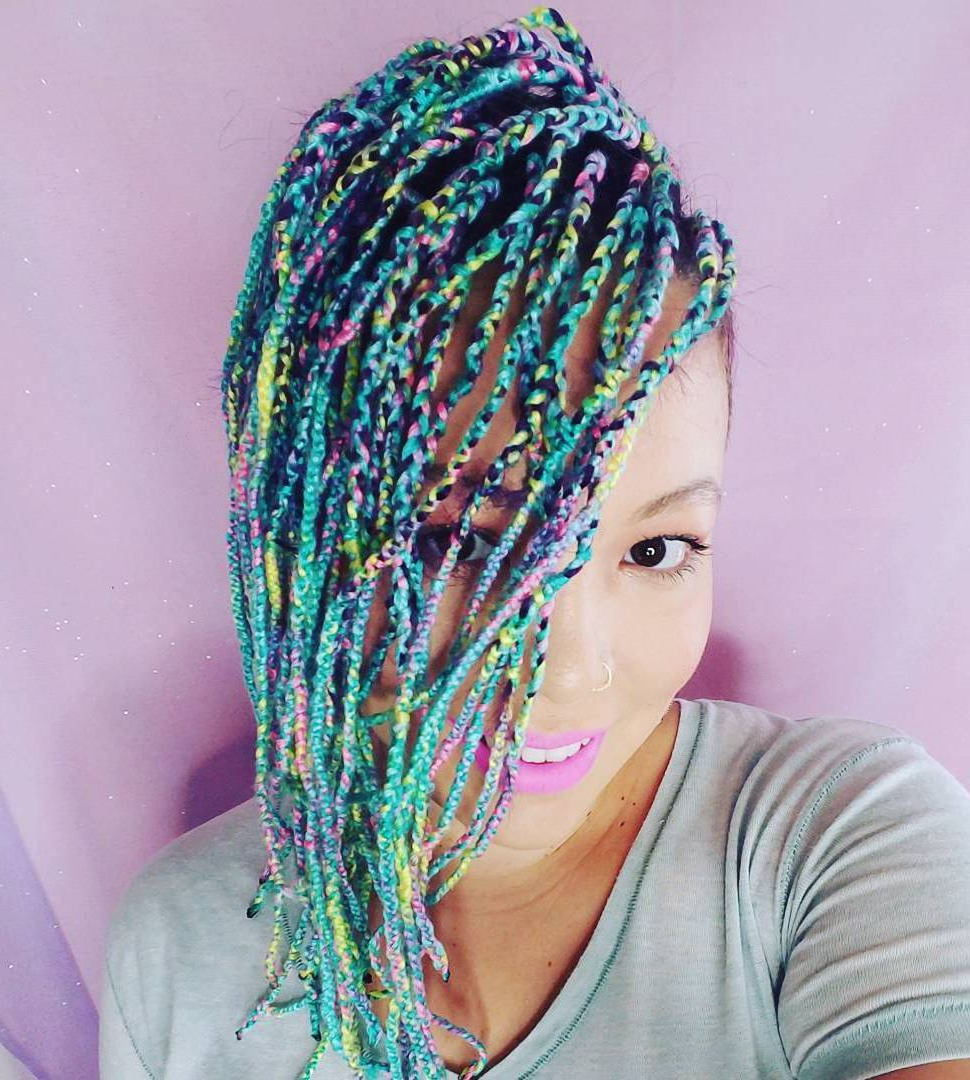 20 Cosy Hairstyles With Yarn Braids Within Preferred Colorful Yarn Braid Hairstyles (View 2 of 20)