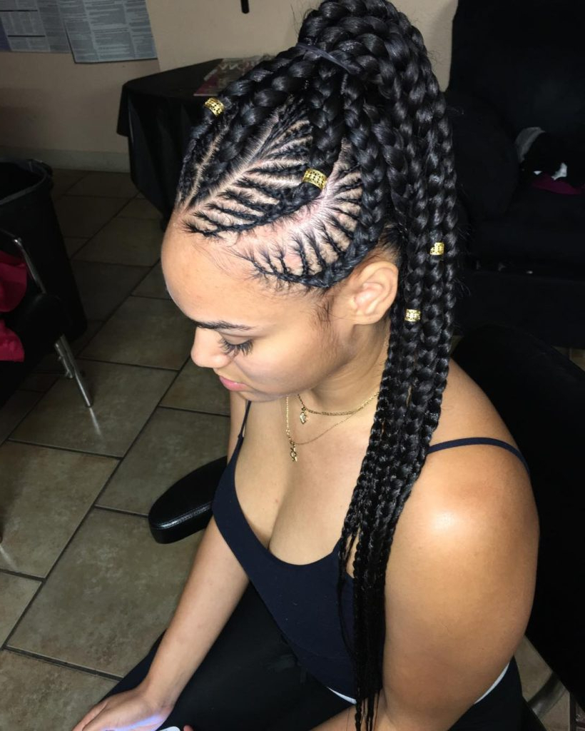 20 Impressive Ghana Braids For An Ultimate Diva Look Throughout Most Recently Released Ponytail Braid Hairstyles With Thin And Thick Cornrows (View 3 of 20)