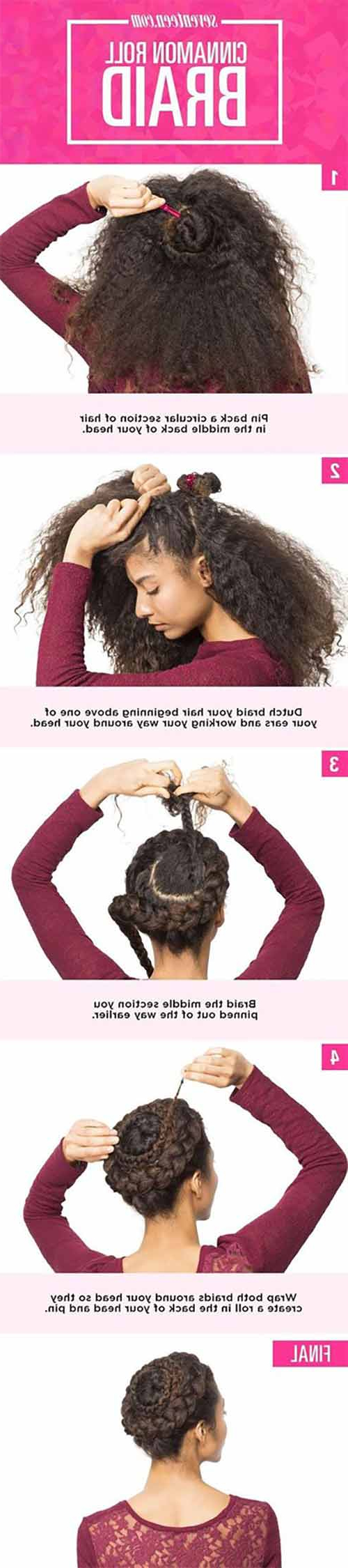 20 Incredibly Stunning Diy Updos For Curly Hair With Regard To Well Known Cinnamon Bun Braided Hairstyles (View 2 of 20)