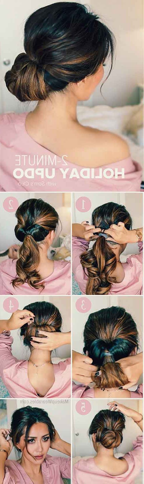 20 Stunningly Easy Diy Messy Buns Intended For Well Liked Wrap Around Ponytail Updo Hairstyles (View 13 of 20)