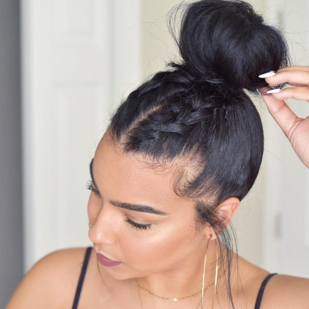 20 Super Easy Updos For Beginners – Thefashionspot With Regard To Recent Topknot Ponytail Braided Hairstyles (View 19 of 20)