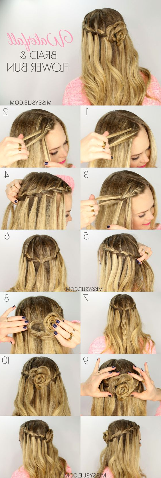 20 Waterfall Braid Tutorials Adding Beautiful Twists And Regarding Newest Waterfall Mermaid Braid Hairstyles (View 2 of 20)