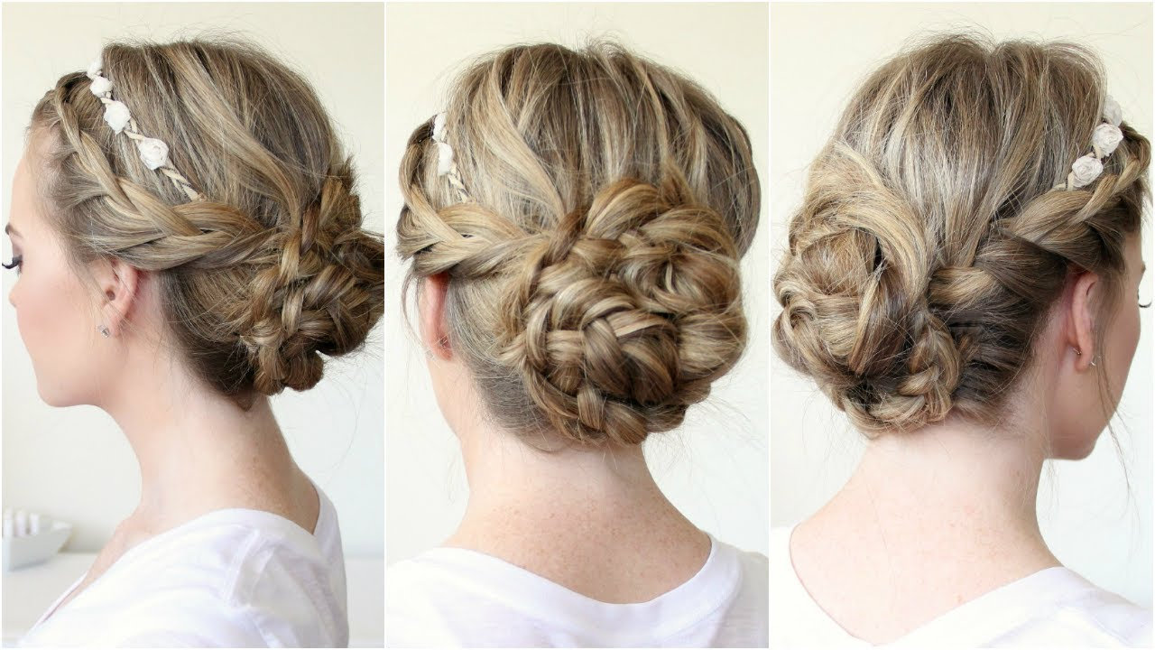 2019 Crown Braid Updo Hairstyles Inside Braided Updo With A Flower Crown (View 5 of 20)