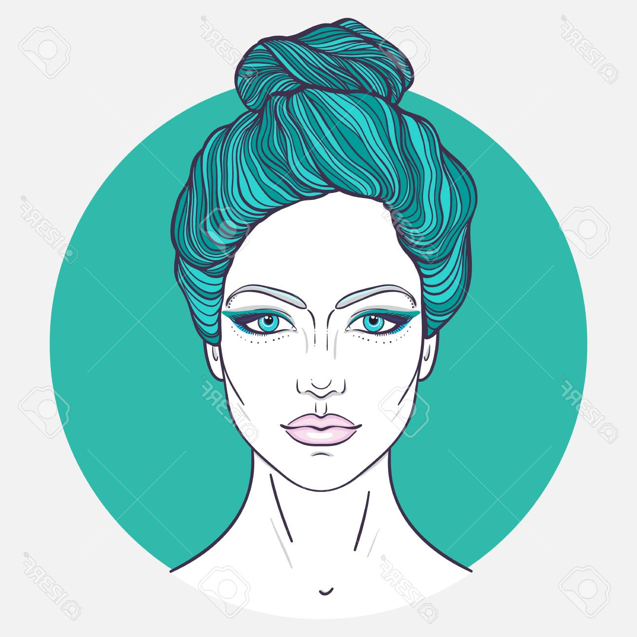 2019 Decorative Topknot Hairstyles Regarding Beautiful Girl Face With Top Knot Hair Style, Make Up And Neutral. (View 3 of 20)