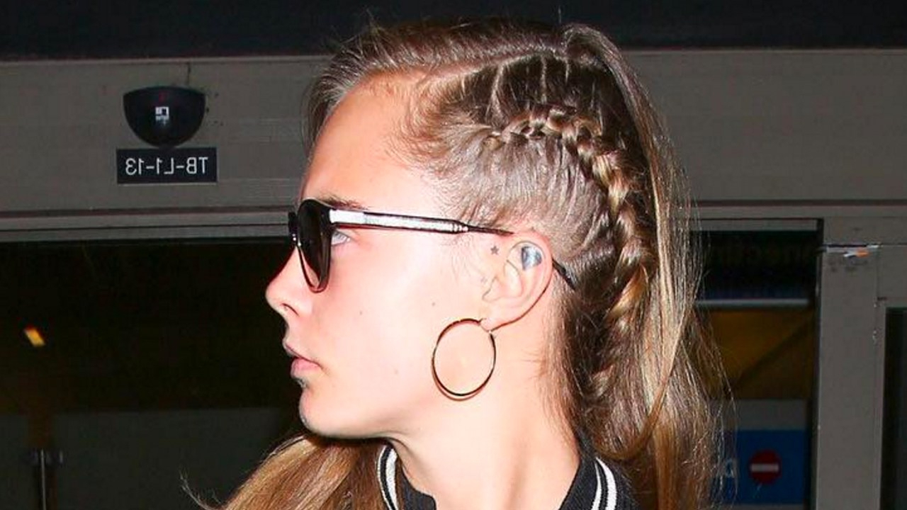 2019 Faux Undercut Braided Hairstyles With Regard To Cara Delevingne Revived Her Signature Undercut Braid (View 15 of 20)