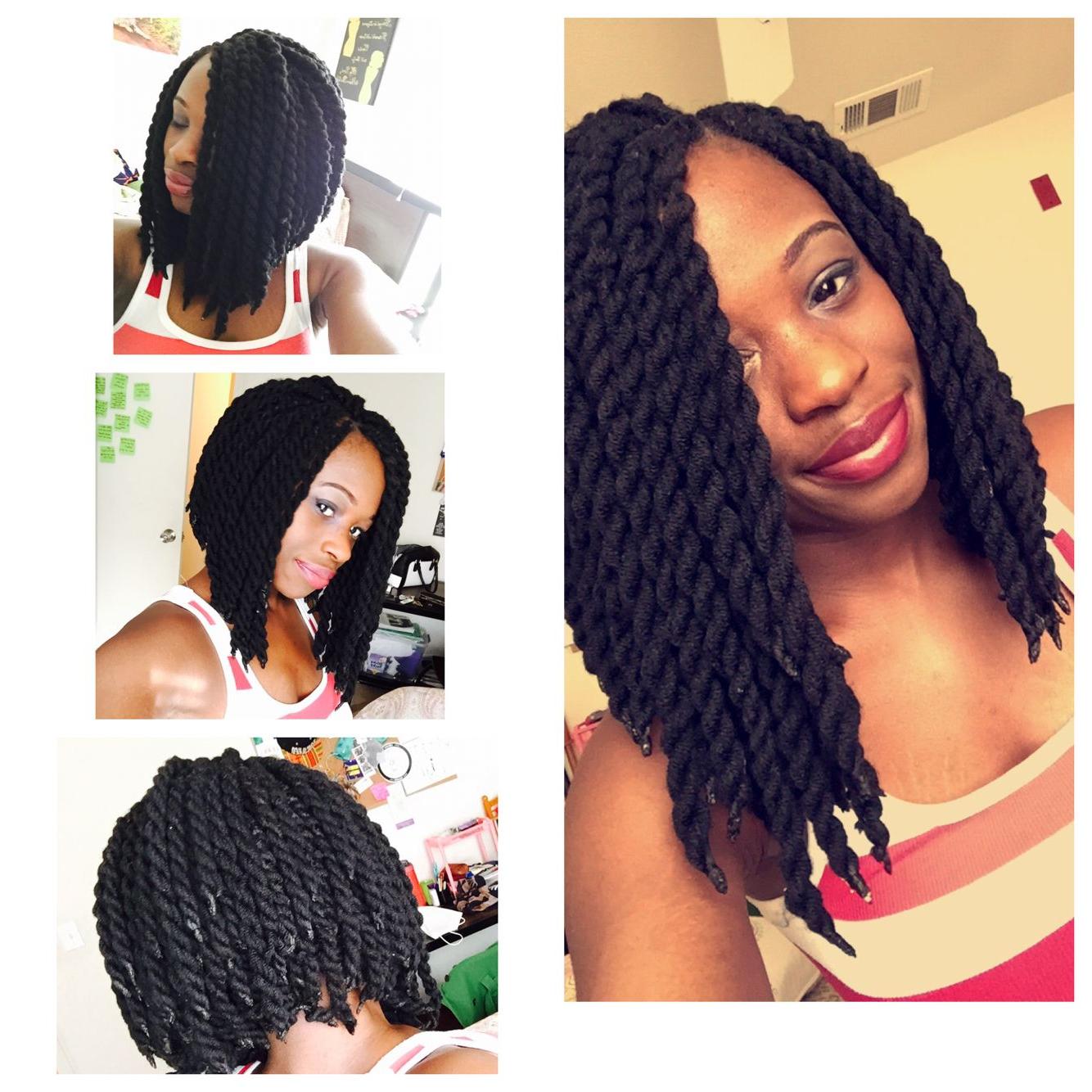 2019 Long Black Yarn Twists Hairstyles With Yarn Twist Bob (View 11 of 20)