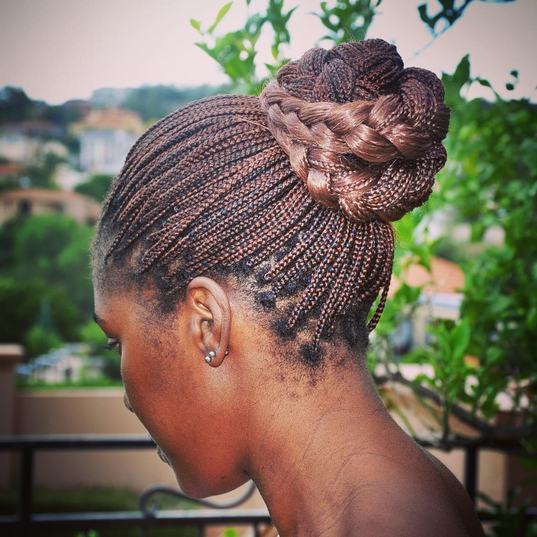 2019 Natural Protective Bun Micro Braid Hairstyles With Regard To The 10 Most Beautiful Small Box Braid Hairdos (View 15 of 20)