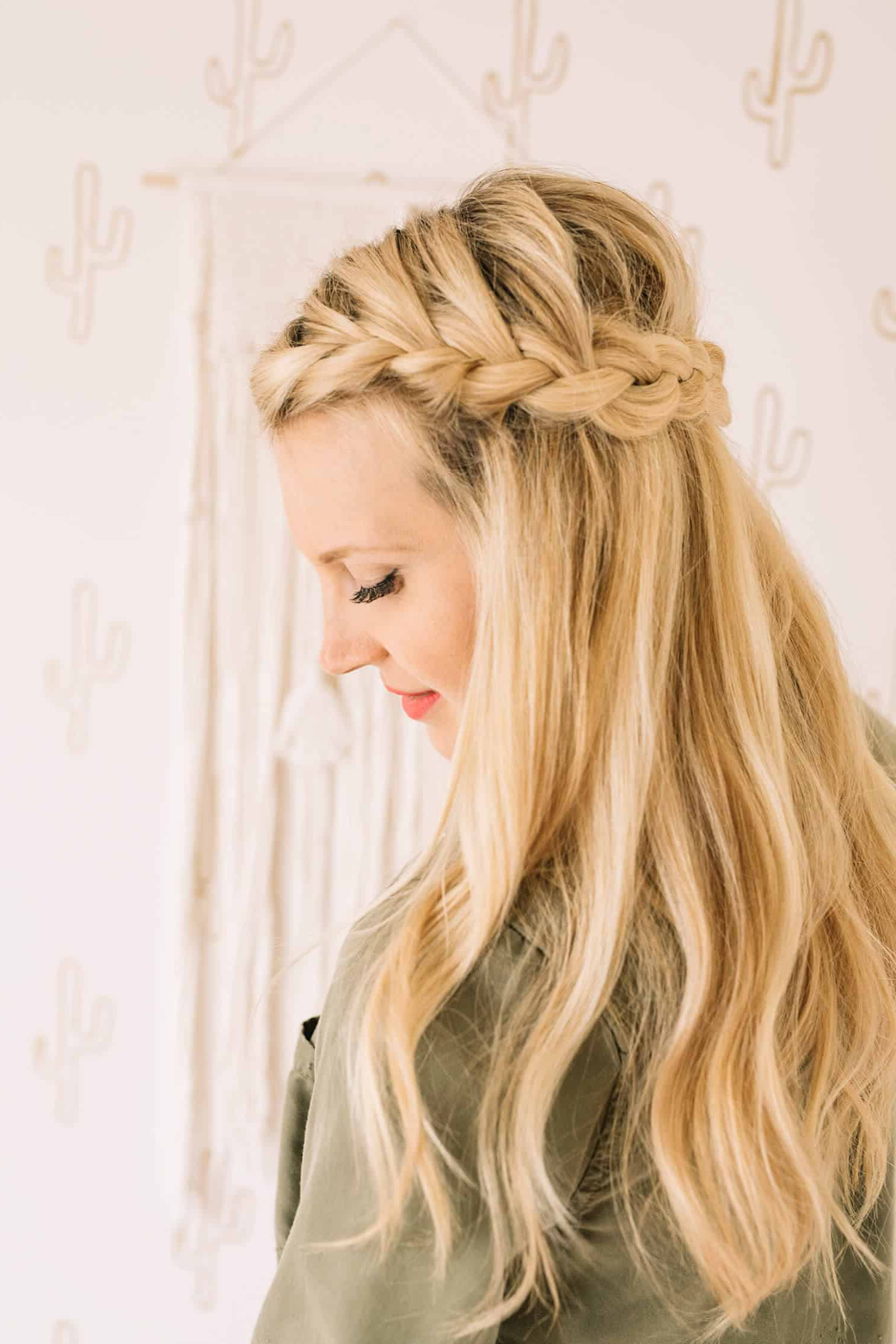 2019 Pretty Pinned Back Half Updo Braids With Regard To French Braid Half Crown – A Beautiful Mess (View 11 of 20)