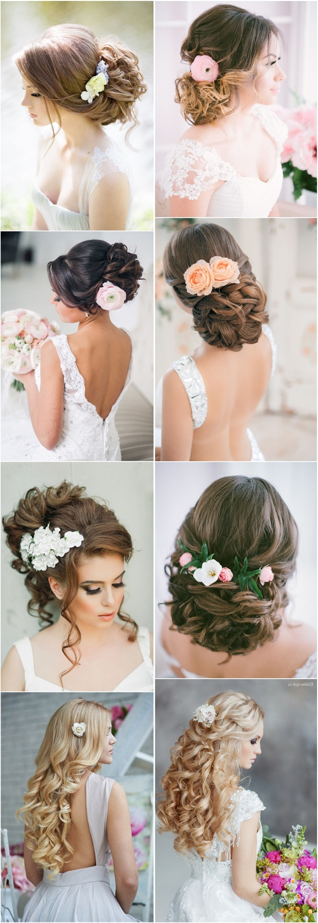 2019 Romantic Florals Updo Hairstyles Intended For 25 Romantic Long Wedding Hairstyles Using Flowers (View 3 of 20)