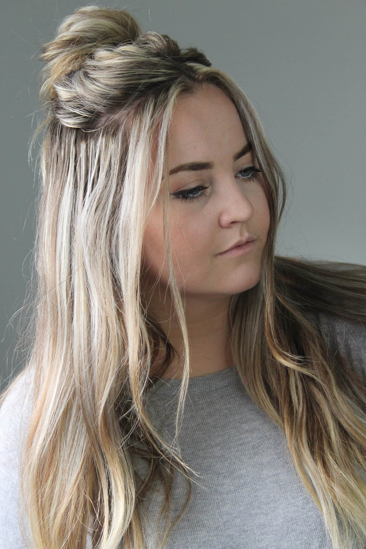 2019 Simple Half Bun Hairstyles Throughout Quick 2 Minute Half Up Messy Bun Tutorial – Cassie Scroggins (View 7 of 20)